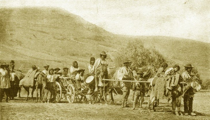 Wandering Gypsies somewhere on the countryside in the 19th century