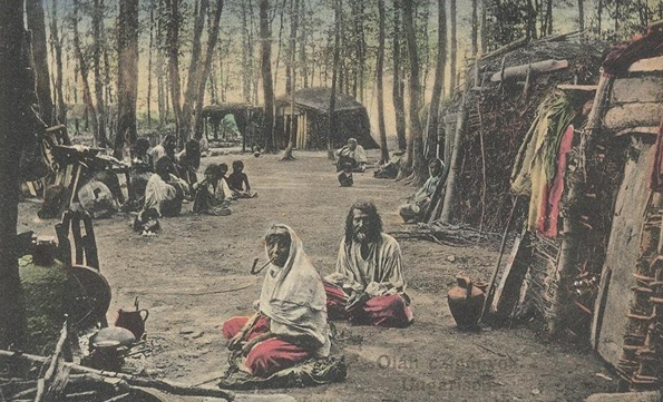 Gipsy camp in the forest in the 19th century