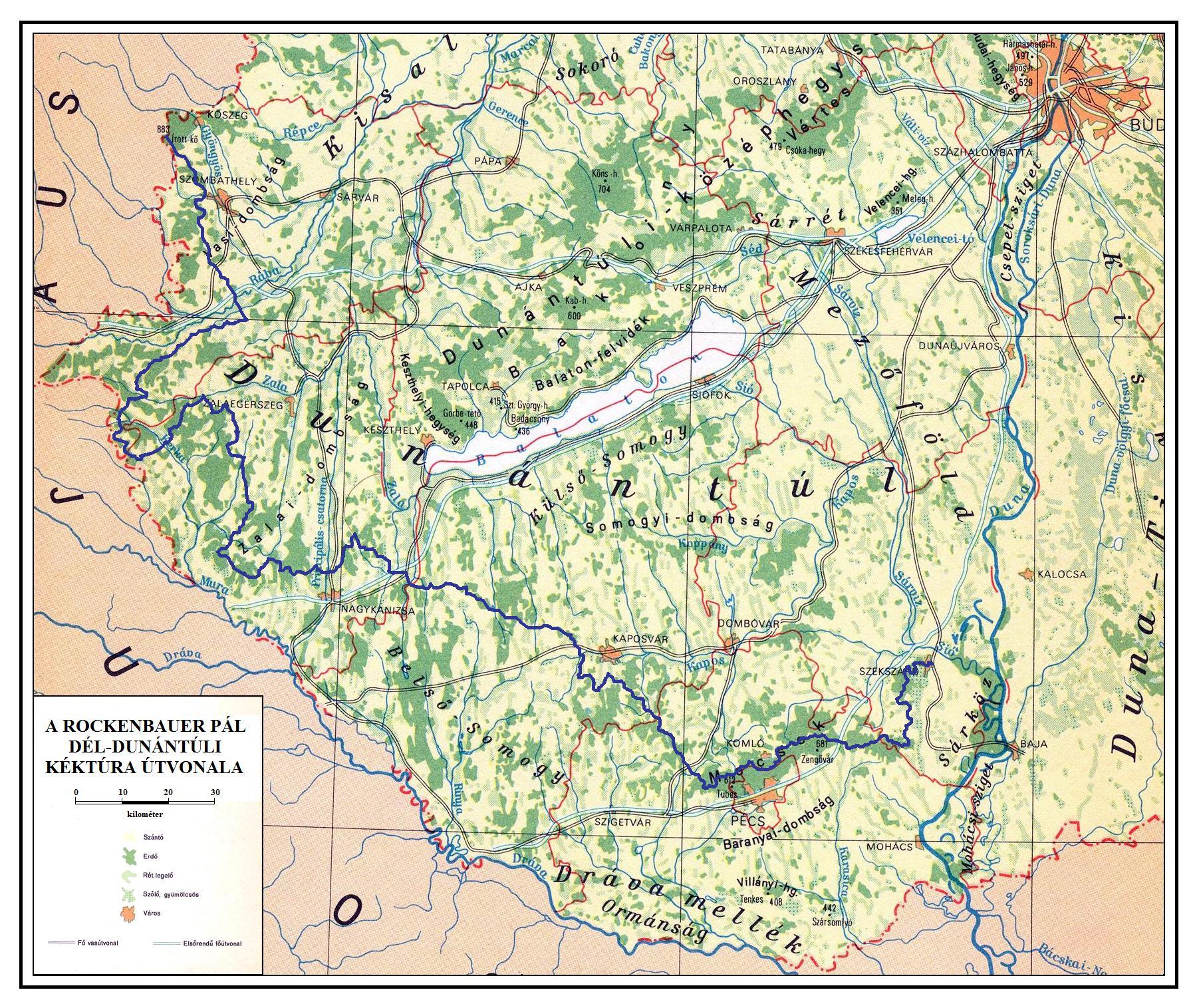 magyarország dunántúl térkép KÉKTÚRA HONLAP   A Rockenbauer Pál Dél dunántúli Kéktúra bemutatása magyarország dunántúl térkép