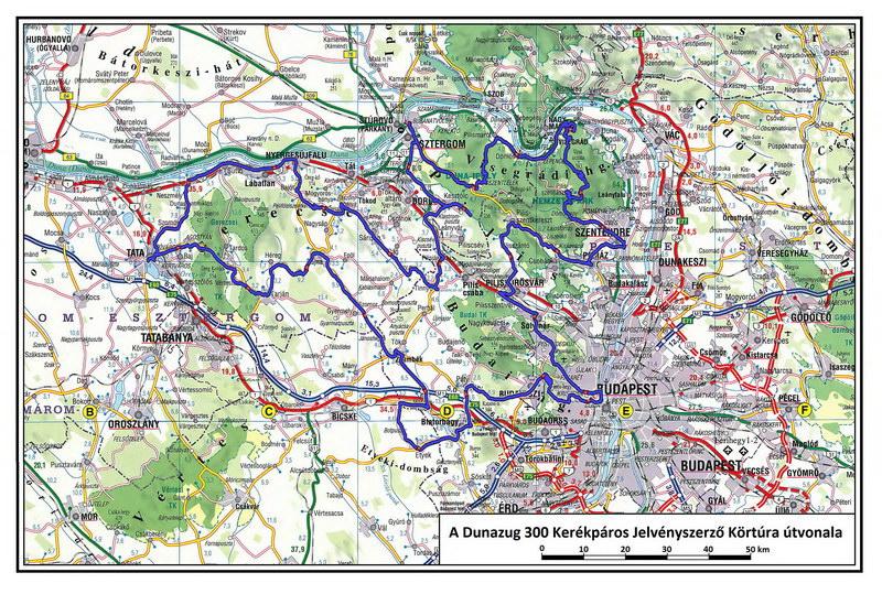 A Dunazug 300 Kerékpáros Jelvényszerző Körtúra útvonaltérképe