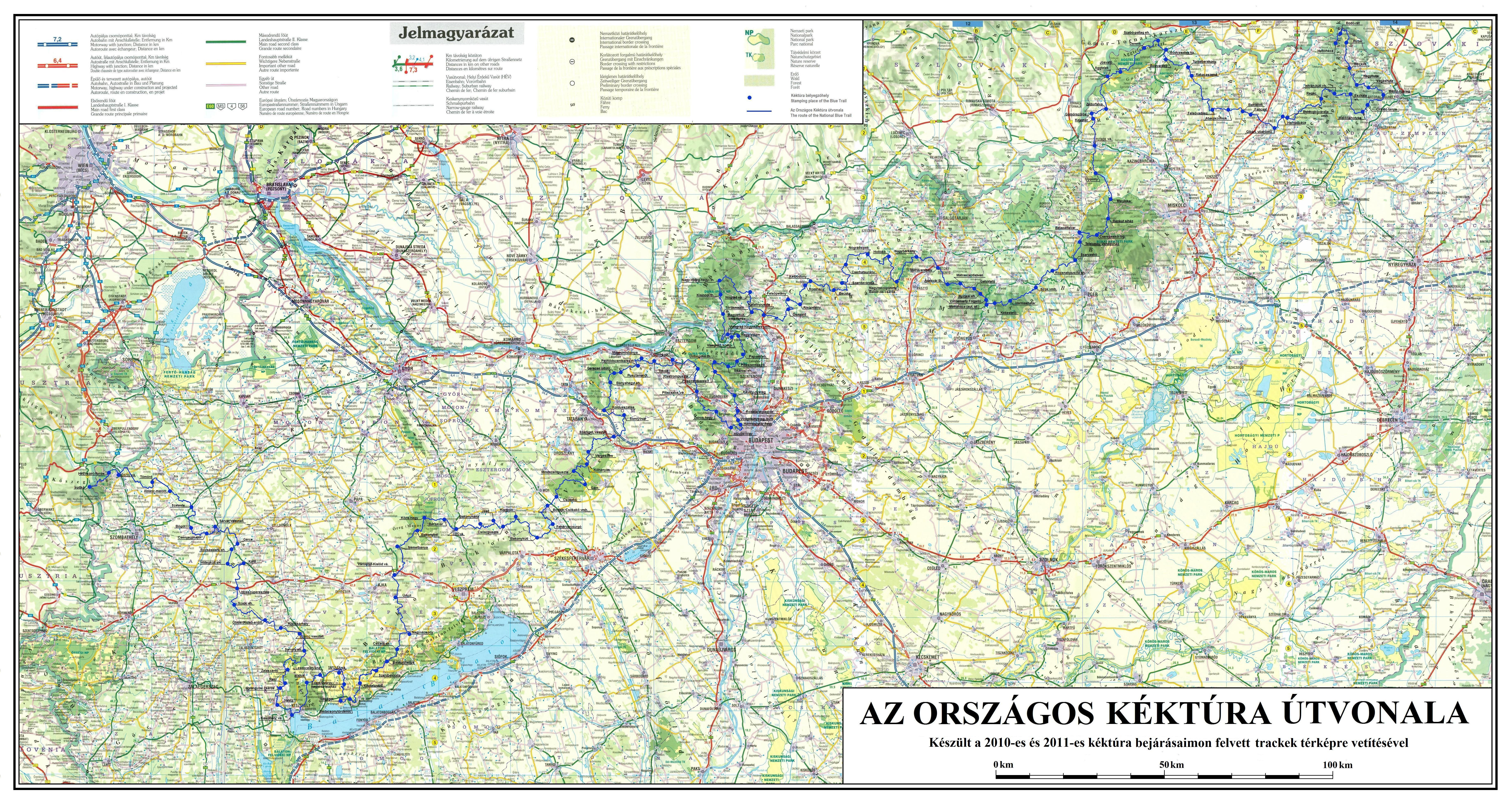 nagyfelbontású magyarország térkép KÉKTÚRA HONLAP   Az Országos Kéktúra kezdetei nagyfelbontású magyarország térkép