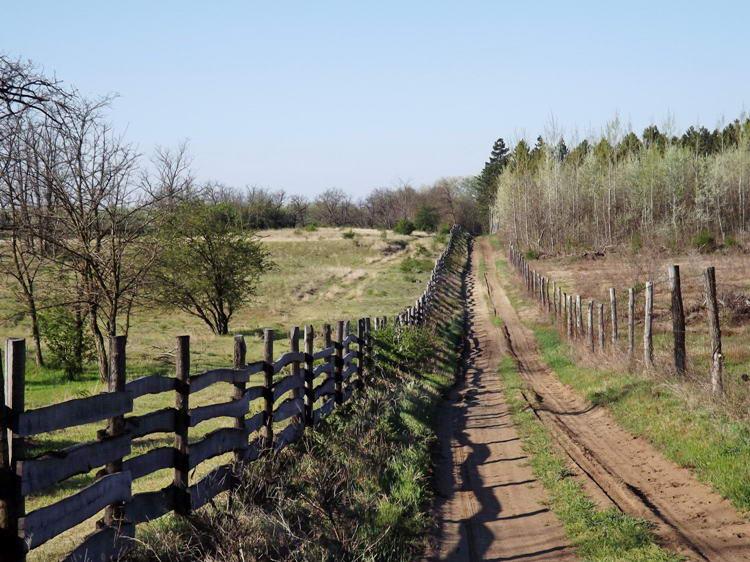 A kerítéstől jobbra a jelenlegi út, balra, a bekerített területen a régi, már felhagyott keréknyomok