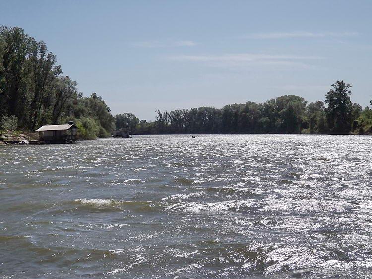 A Tisza a kompról fényképezve