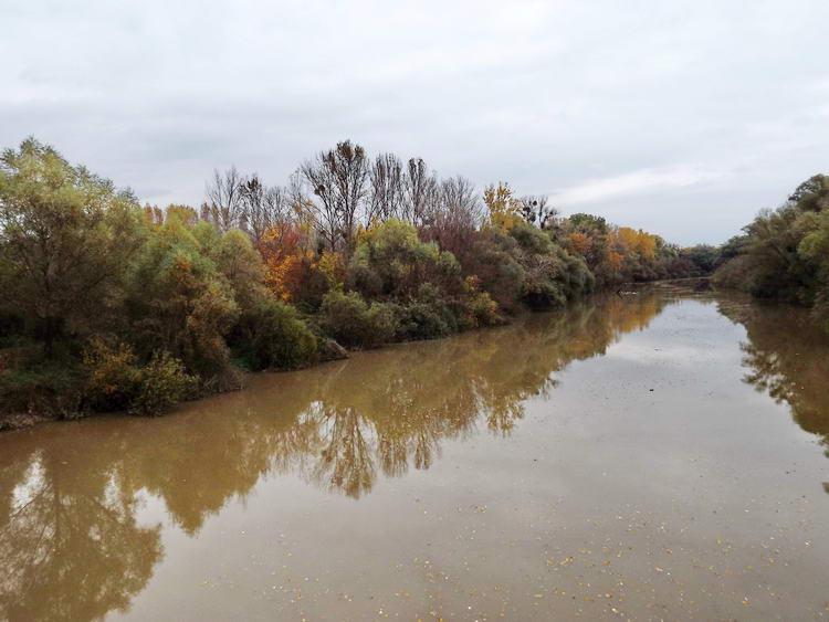 A Bodrog a hídról fényképezve