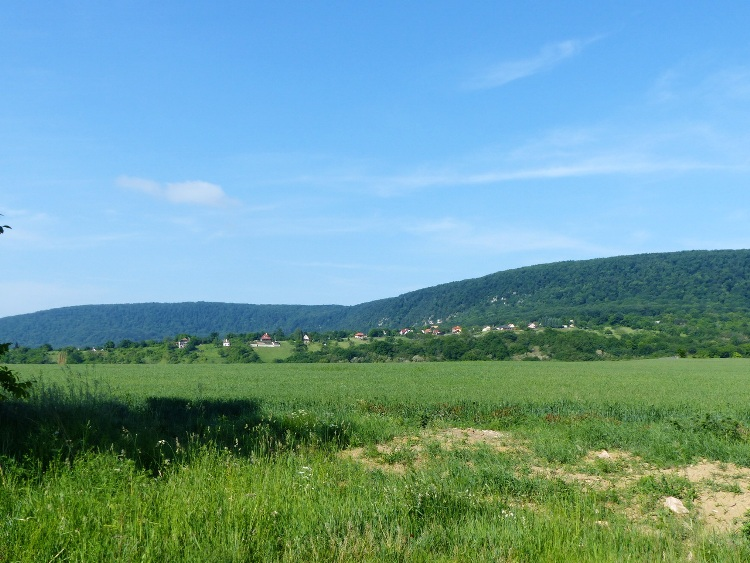 A mezőről már látható Vértestolna néhány háza is, de a falu nagy része megbújik a völgyben