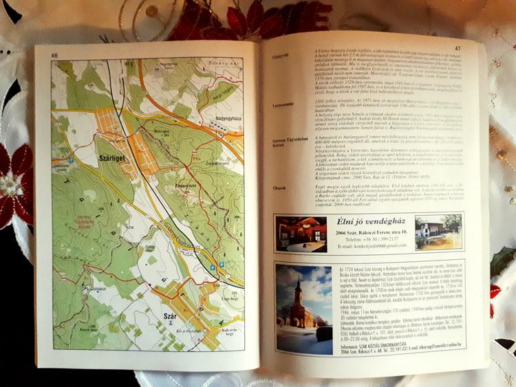 A KDP igazolófüzet két oldala térképpel, ismertetővel és némi reklámmal