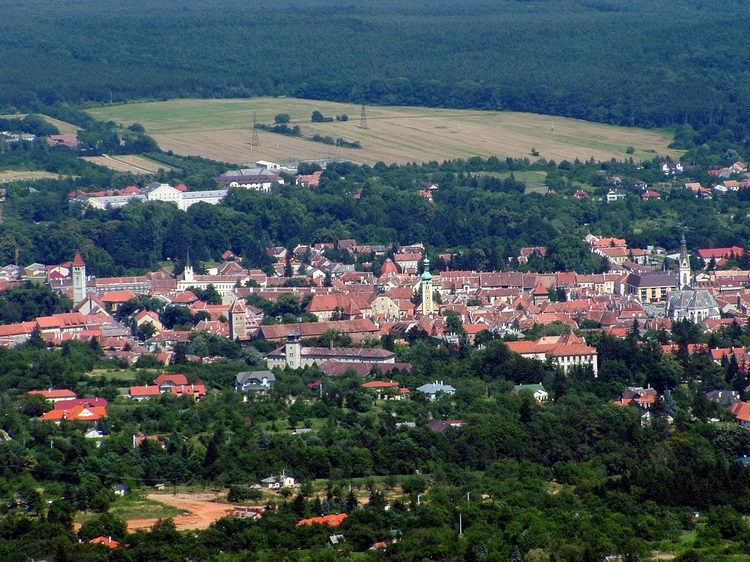 View towards Kőszeg from the lookout tower of Óház-tető Hill