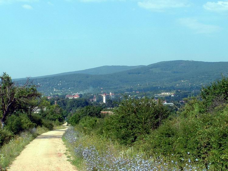 View towards Kőszeg and the mountains from the dirt road