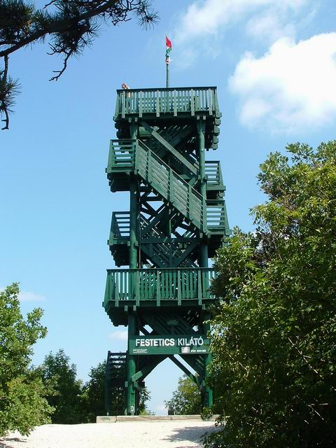 The Festetics Lookout Tower stands on the top of Varsás Hill
