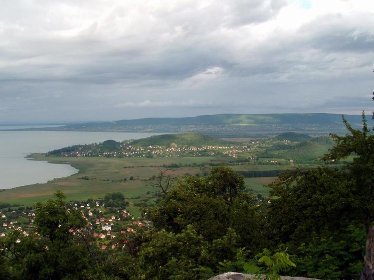 The view of Balaton Lake and the Hills of Szigliget from the cross
