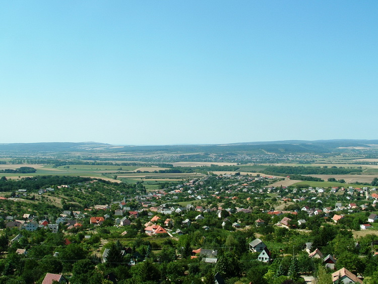 Panorama from the walls of the castle towards the village and the wide Móri-árok