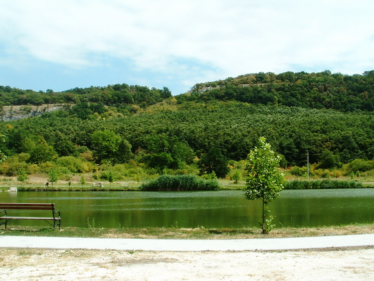 Behind the small artificial lake stands the Zsigmond Rock
