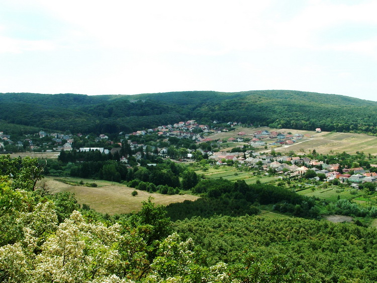 The panorama of Várgesztes village from the Zsigmond Rock