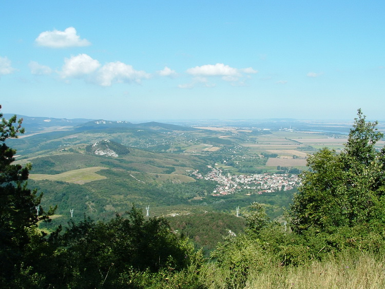 The view of Tokod village and the Hegyes-kő Hill from the top of Nagy-Gete Mountain