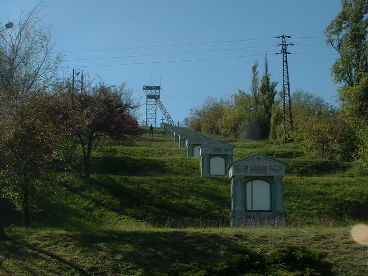 An old, closed mine-tower stands on the top of the Calvary Hill in Dorog
