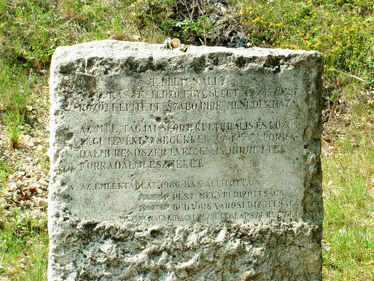 The memorial stone of the former tourist hostel