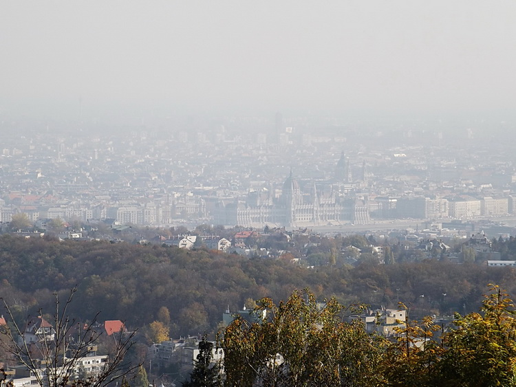 Misty panorama towards the centre of Budapest from the terrace