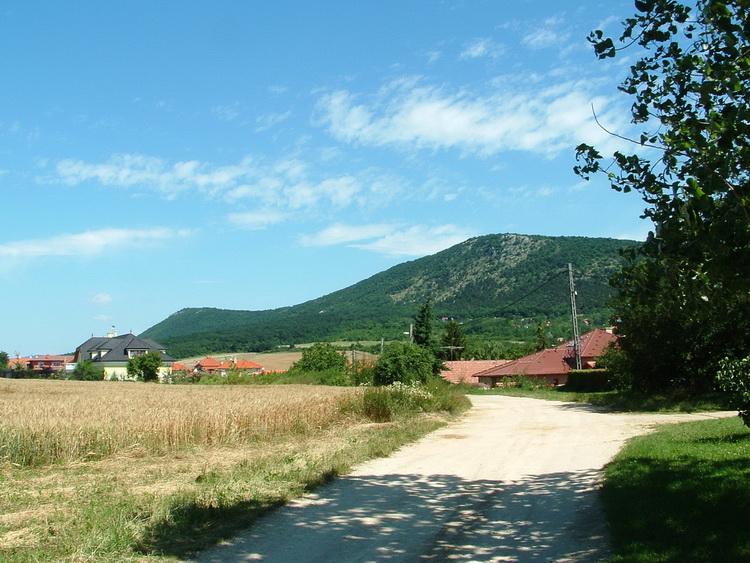 The Nagy-Kevély Mountain towers behind the houses of Pilisborosjenő