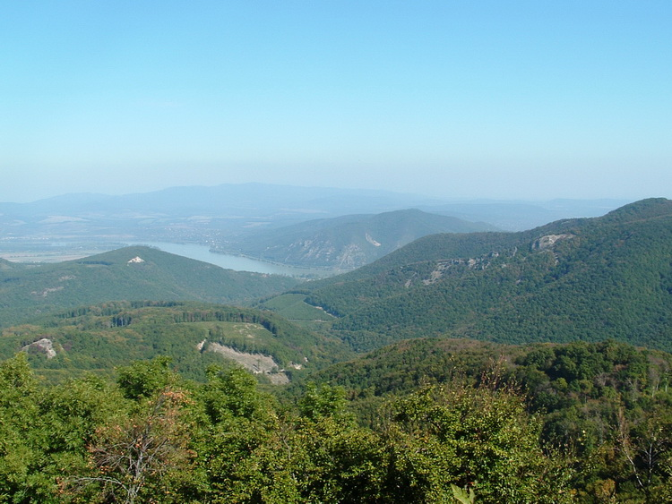 Panorama towards the Danube Bend from the lookout terrace of Dobogókő