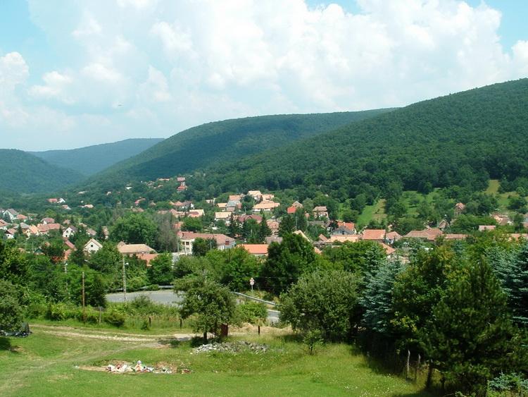 The view of Pilisszentlászló village from the Kis Rigó Restaurant