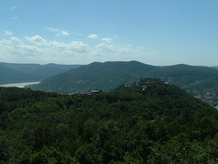 View from the lookout tower of Nagy-Villám Mountain to Castle of Visegrd, and to the Danube Bend