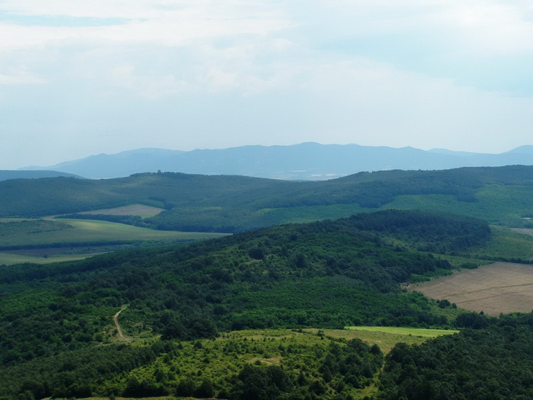 Panorama from the top of Szanda-hegy Mountain towards the far Mátra Mountains