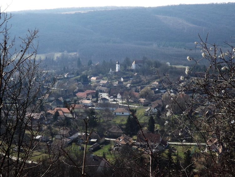 The panorama of Alsópetény village from the side of Romhányi-hegy Hill