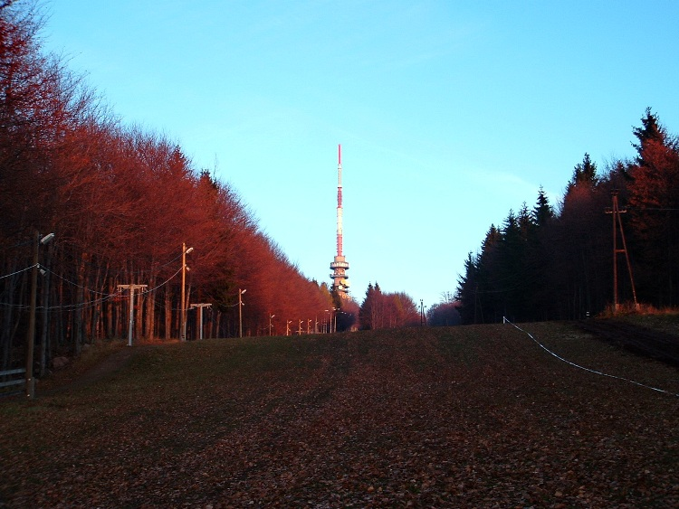 Climb on the ski slope towards the TV tower