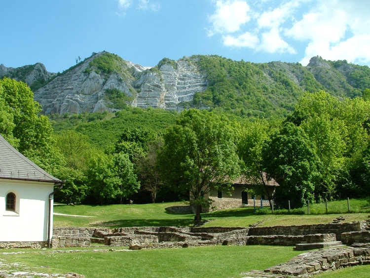 The side of Bél-kő Mountain taken from the ruins of the abbey