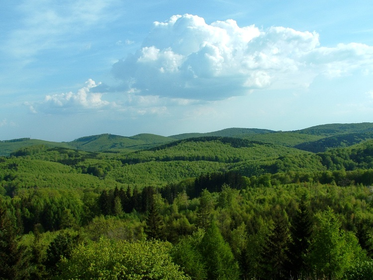 The panorama of the plateau taken from the lookout tower of Bálvány Mountain
