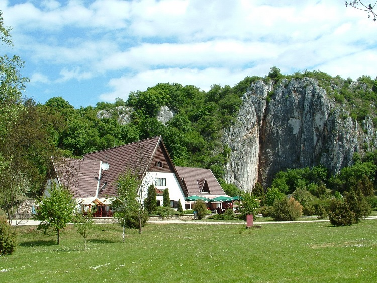 The Hotel Baradla stands beside the cliff of the Baradla Cave