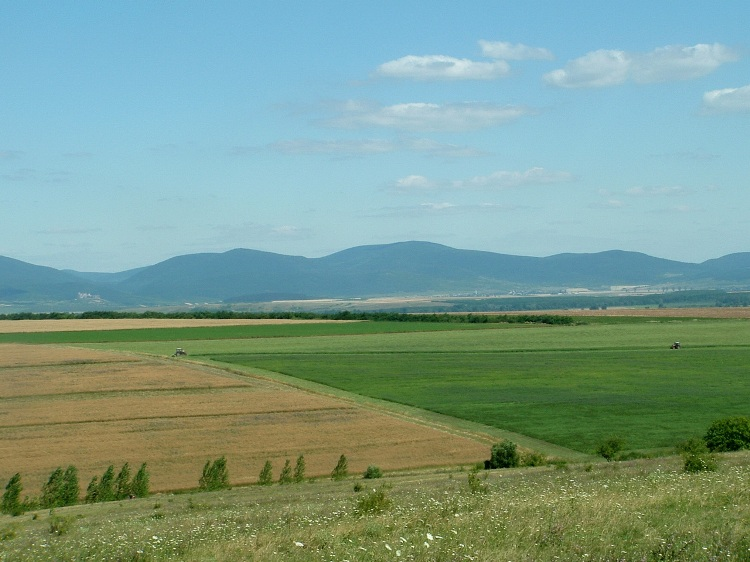 The view of the wide Hernád Valley and the far Zemplén Mountains