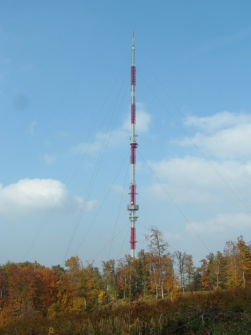 The TV broadcasting tower on the top of the mountain