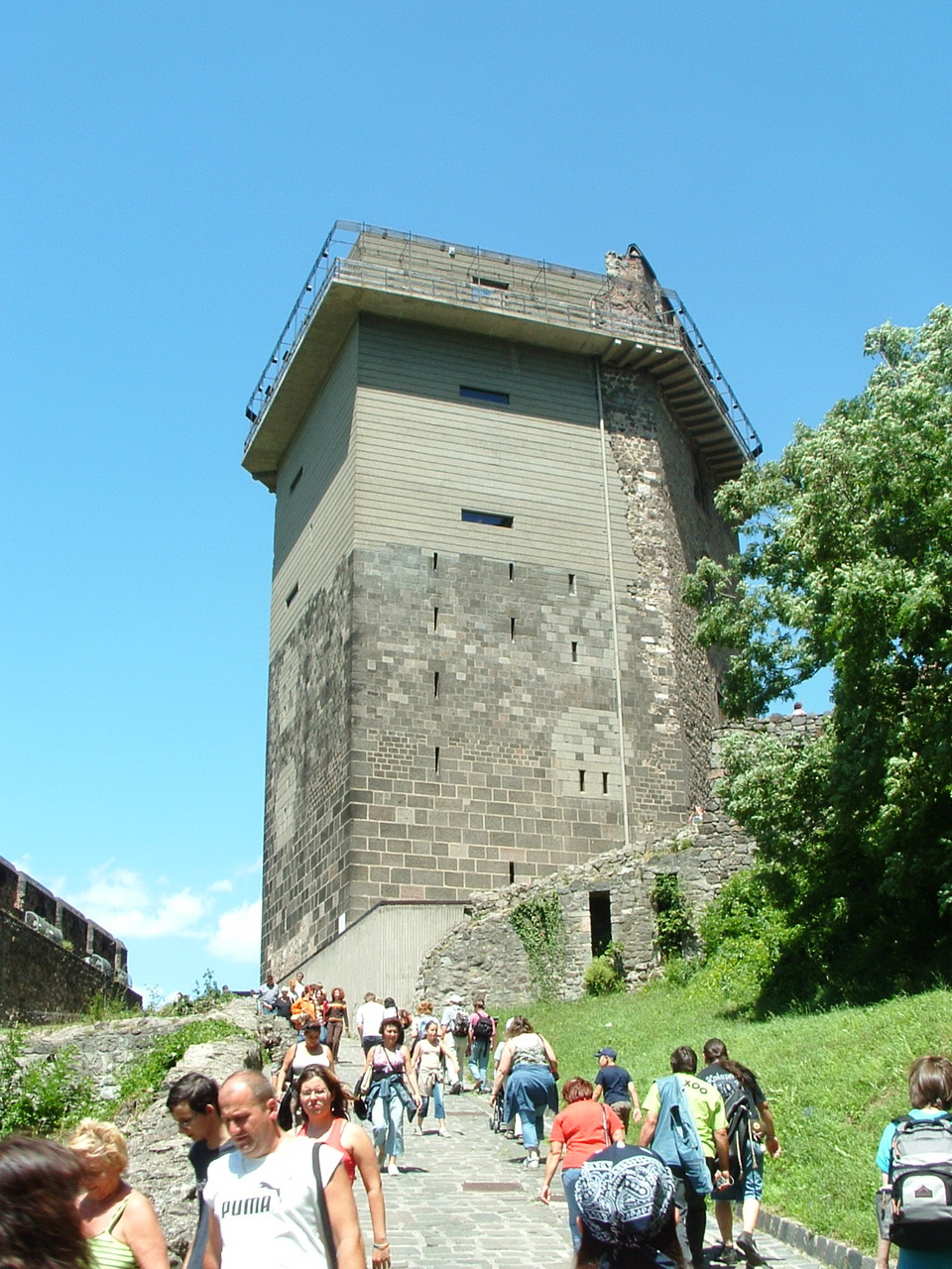 On the steep access road of the Salamon Tower