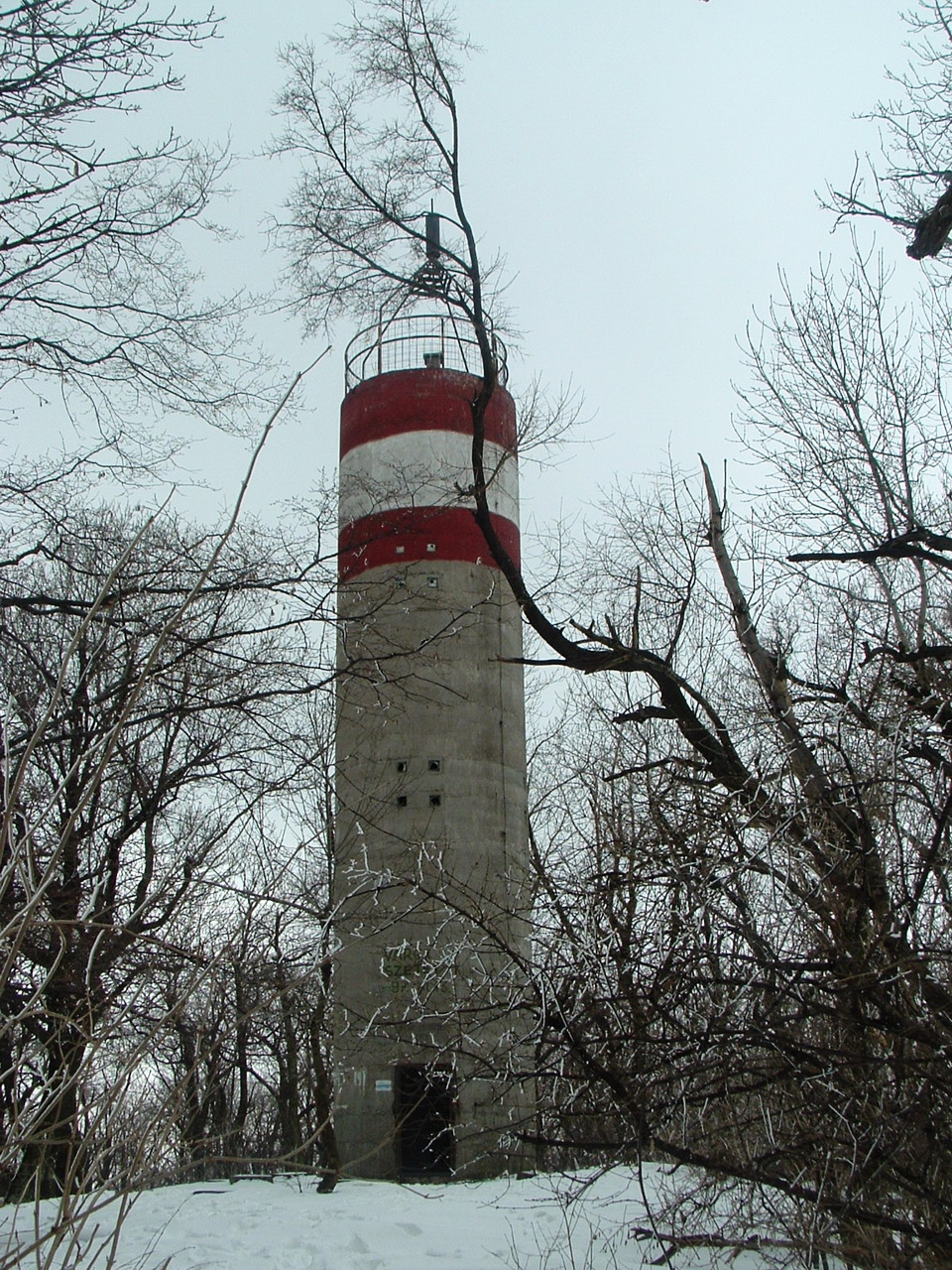Geodetic survey tower on the top of the Naszály