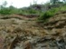 A geológiai feltárás kőzetrétegei közelről