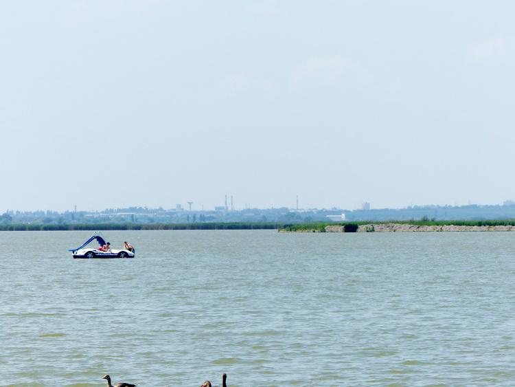 A tópartról jól láthatóak Székesfehérvár házai