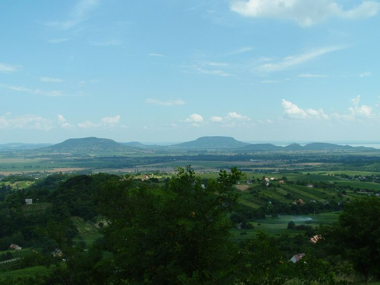View from the Kő orra Hill towards the extinct volcanoes of Basin of Tapolca