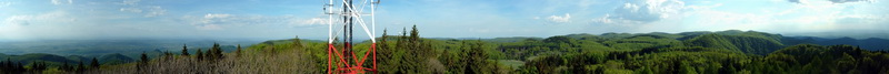 360-degree panorama from the lookout tower of Bálvány Mountain