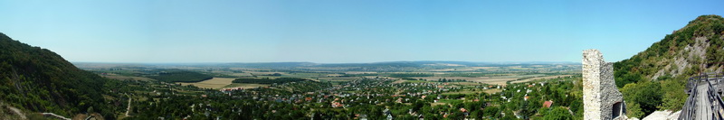 Panoramic view from Castle of Csókakő to the village and its environs