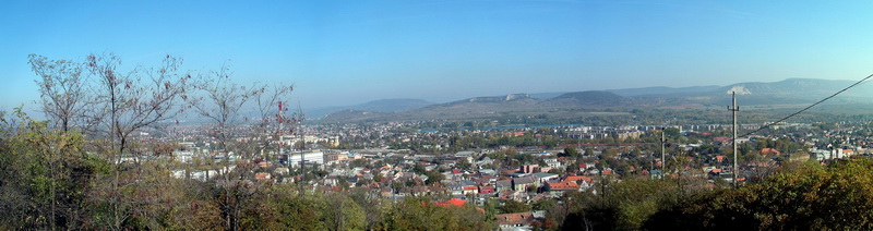 Panoramic view from the Kálvária Hill to Dorog town