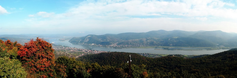 Panoramic view from the lookout tower of Hegyes-tető to the Danube Bend
