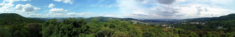 Panoramic view from the lookout tower of Kis-Hárs-hegy to Budapest