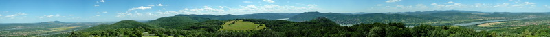 360-degree panorama from the lookout tower of Nagy-Villám to the Danube Bend