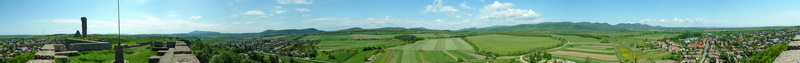 360-degree panorama from the wall of Castle of Nógrád to its environs