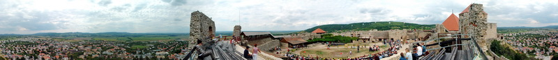 360-degree panorama from the walls of Castle of Sümeg to the castle yars and to the environs