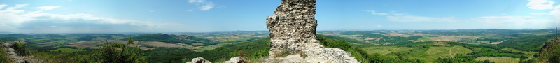 360-degree panorama from Castle of Szanda to the hills of Cserhát