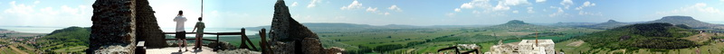 360-degree panorama from the walls of Castle of Szigliget to the Basin of Tapolca and to the volcanoes