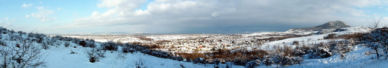 Winter panoramic view from the side of Hegyes-kő Hill to Tokod village