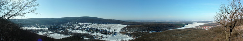 Winter panoramic view from the Zsigmond-kő Rock to Várgesztes village
